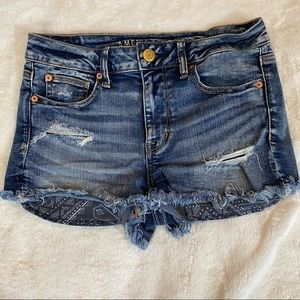 American Eagle Distressed Hi-Rise Shortie Shorts